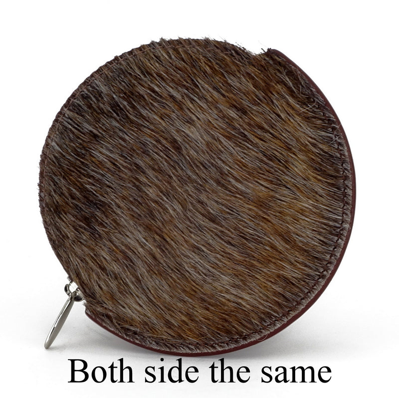 Coin Purse - Round Hair on cow hide leather on both sides