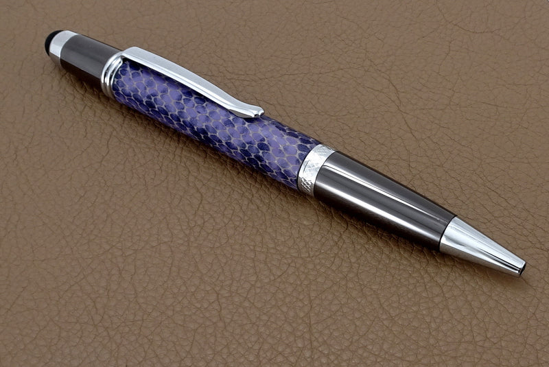 Pen Sierra stylus chrome & gun metal purple snake printed leather single barrel