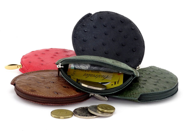 Coin Purse - Round Ostrich skin leg & quill with zip group showing coins and notes