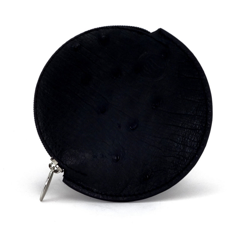 Coin Purse - Round Ostrich skin leg & quill with zip black ostrich