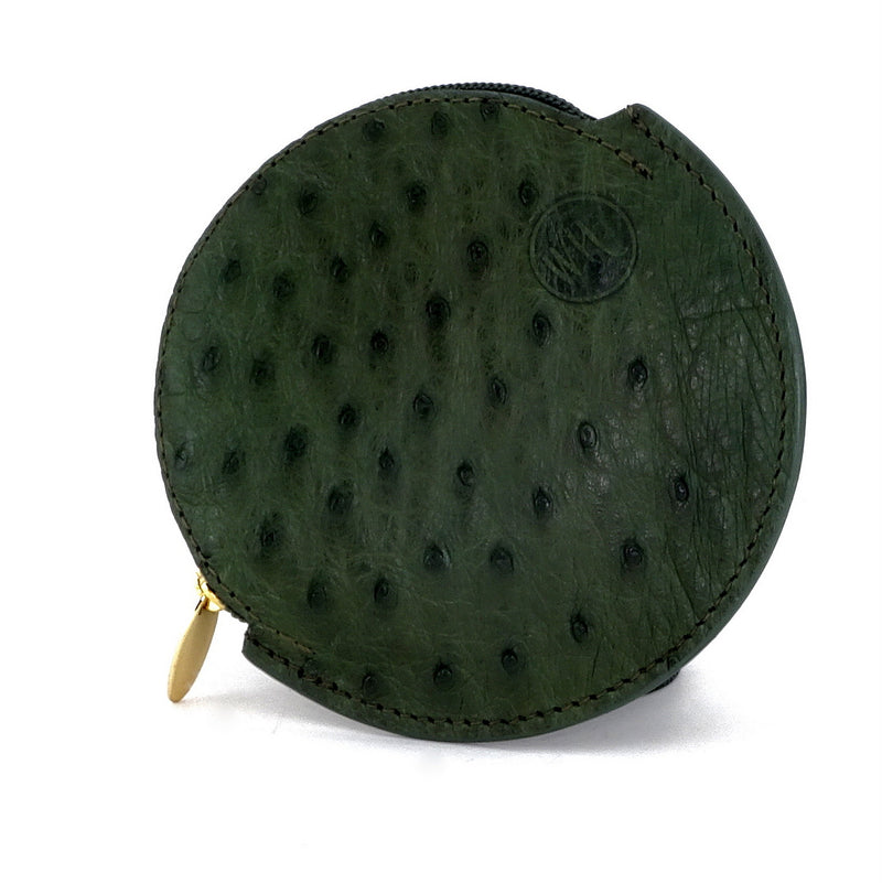 Coin Purse - Round Ostrich skin leg & quill with zip green ostrich