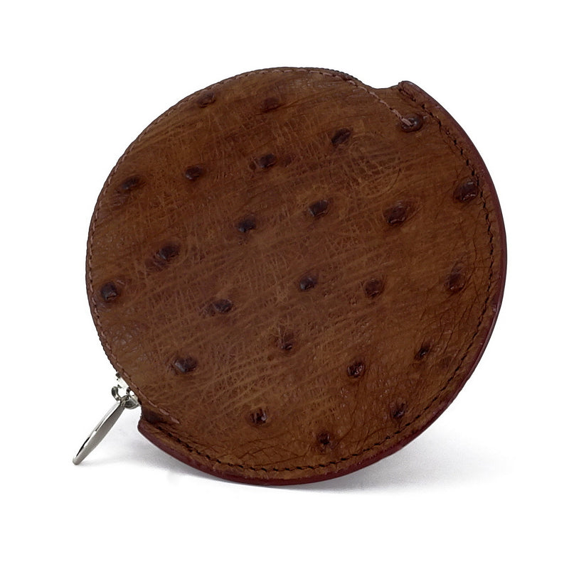 Coin Purse - Round Ostrich skin leg & quill with zip brown ostrich