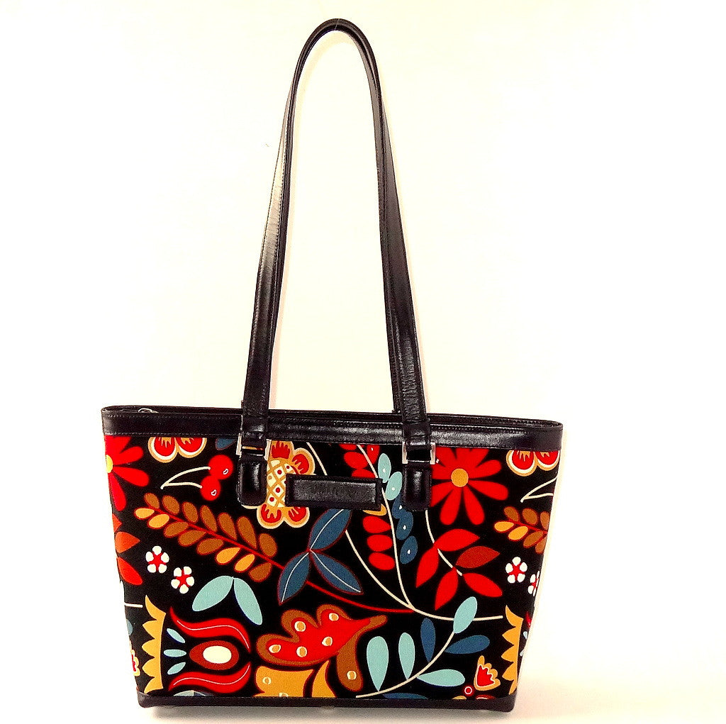 Emily  Medium leather & fabric tote bag navy leather & flower print