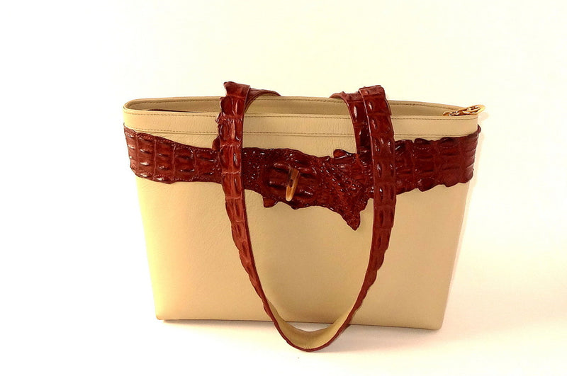 Emily  Medium tote bag cream leather with brown back strap