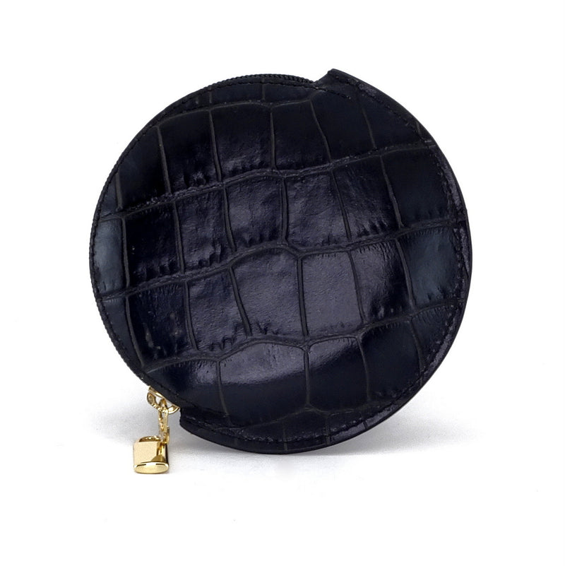 Coin Purse - Round printed leather with zip black crocodile print