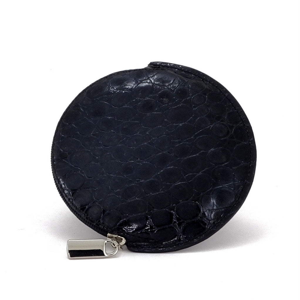 Coin Purse - Round printed leather with zip black foil