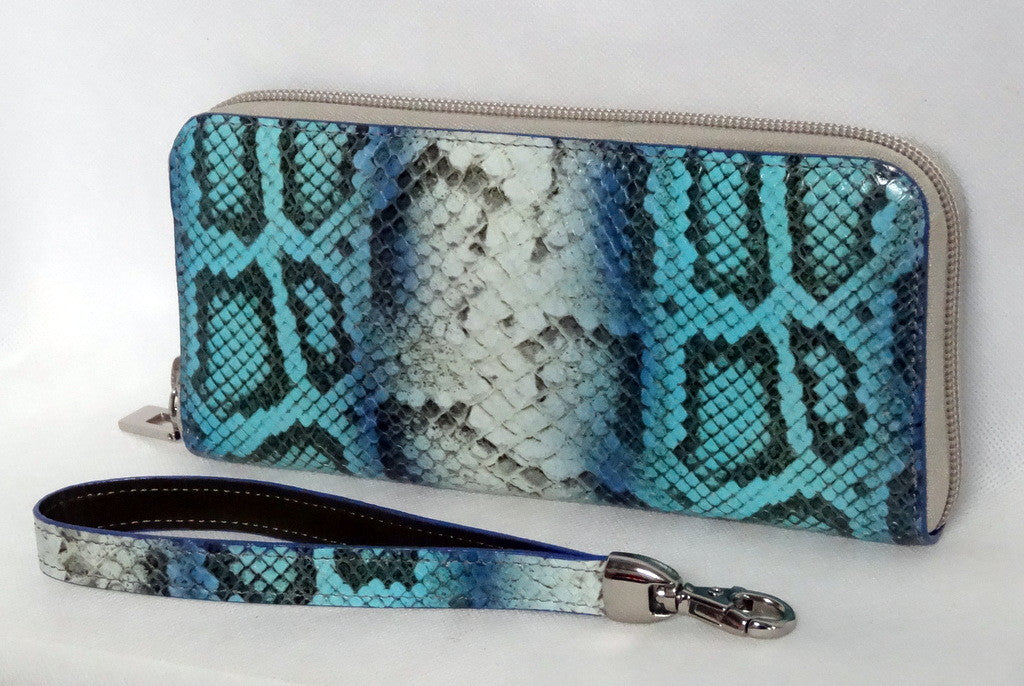 Michaela  Blue & grey snake print leather zip around purse side 2