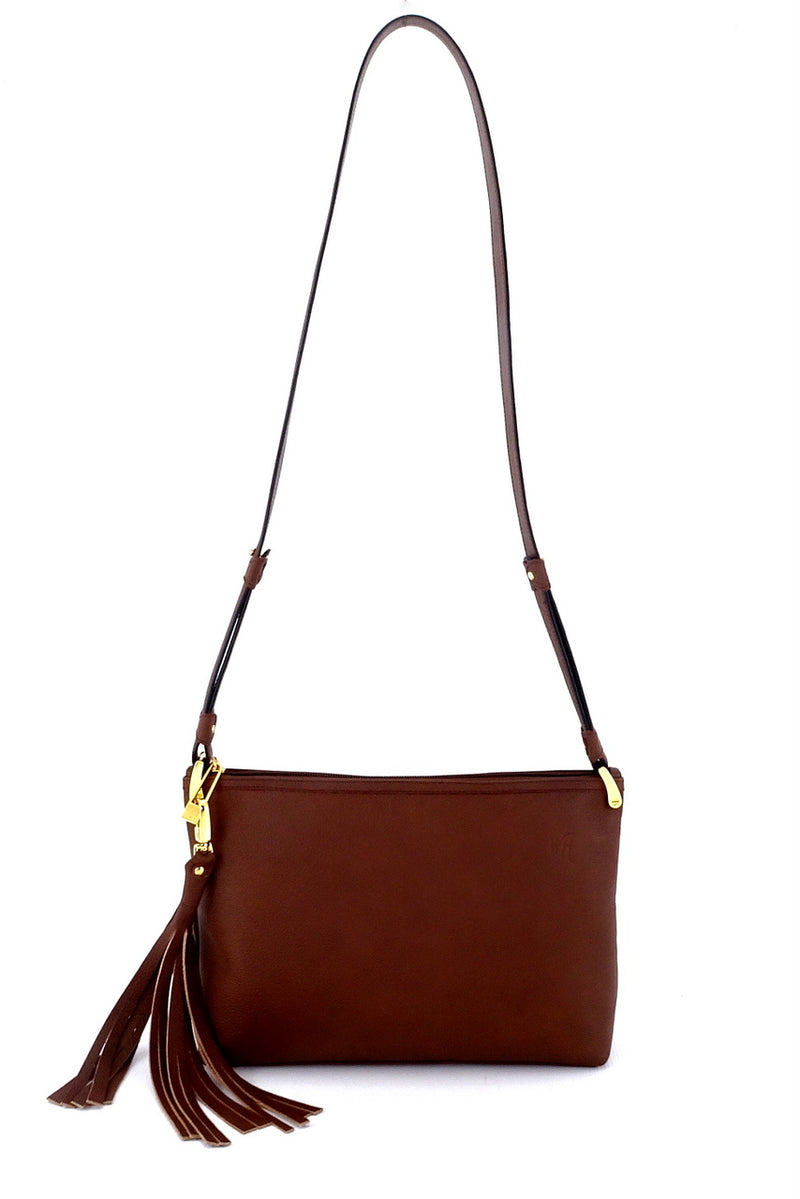 Rosie Brown textured leather small tote bag leather lined large tassel showing shoulder strap extended