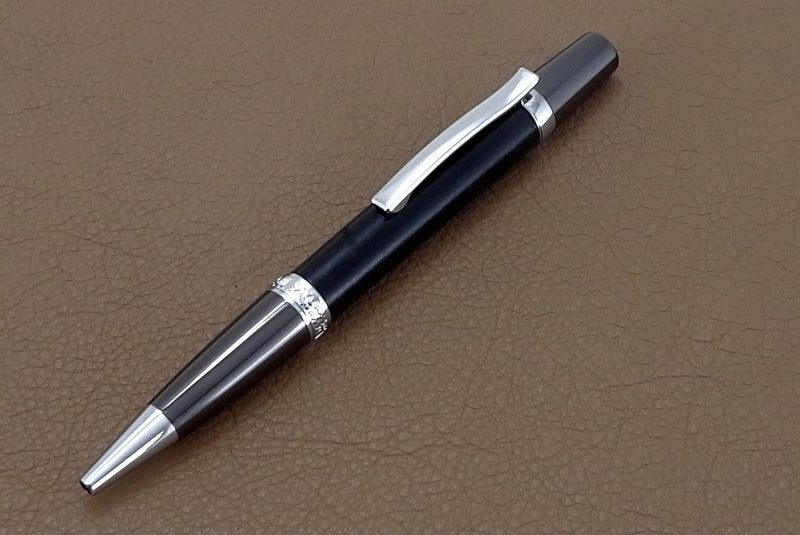 Pen Sierra flat top chrome & gun metal black leather single barrel