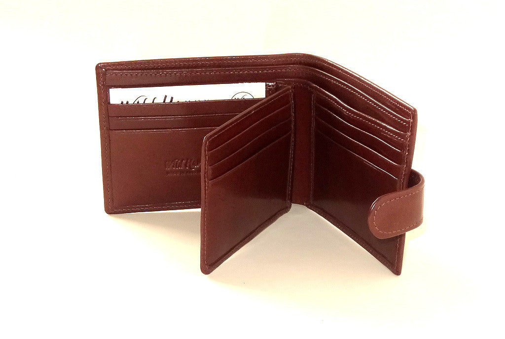 Harrison  Brown smooth finished leather men's large hip wallet inside layout