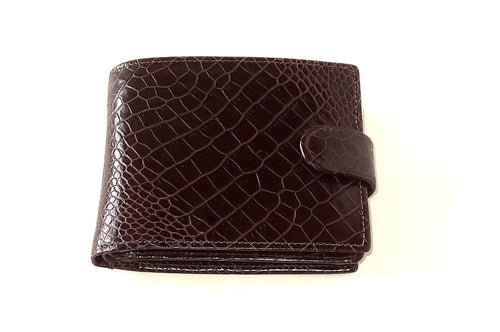 Harrison  Burgundy printed leather men's large hip wallet front