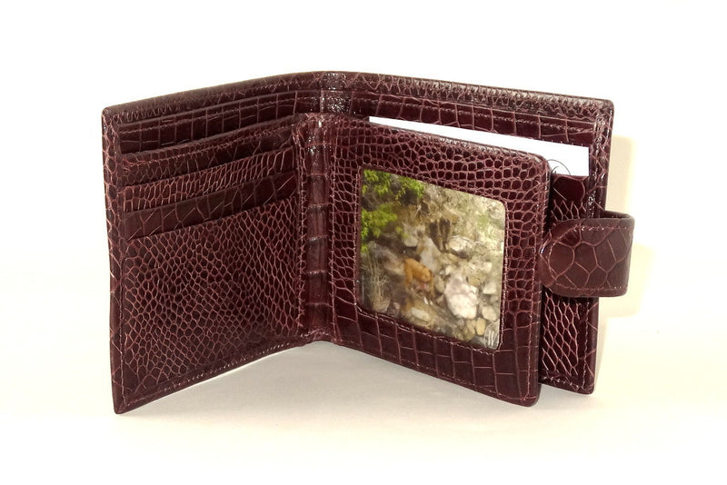 Harrison  Burgundy printed leather men's large hip wallet inside picture window