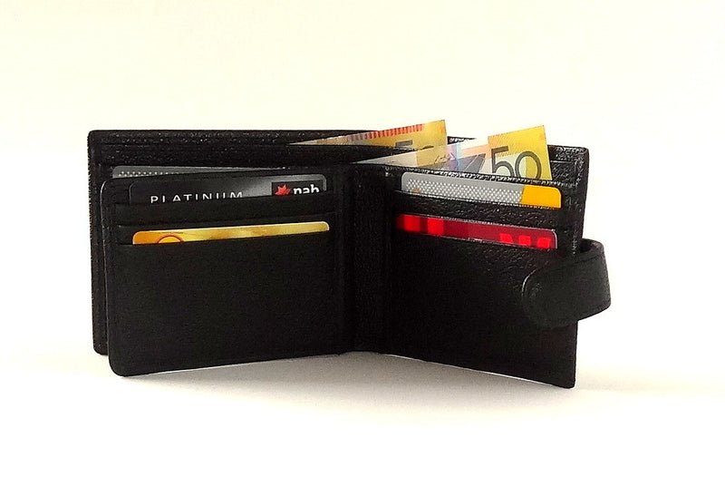 Harrison  Black leather large hip men's wallet inside with cards and notes