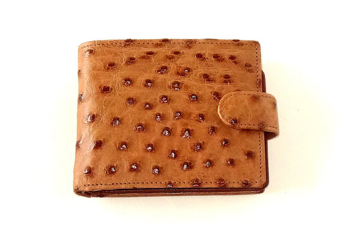 Harrison  Tan ostrich skin men's large leather hip wallet front