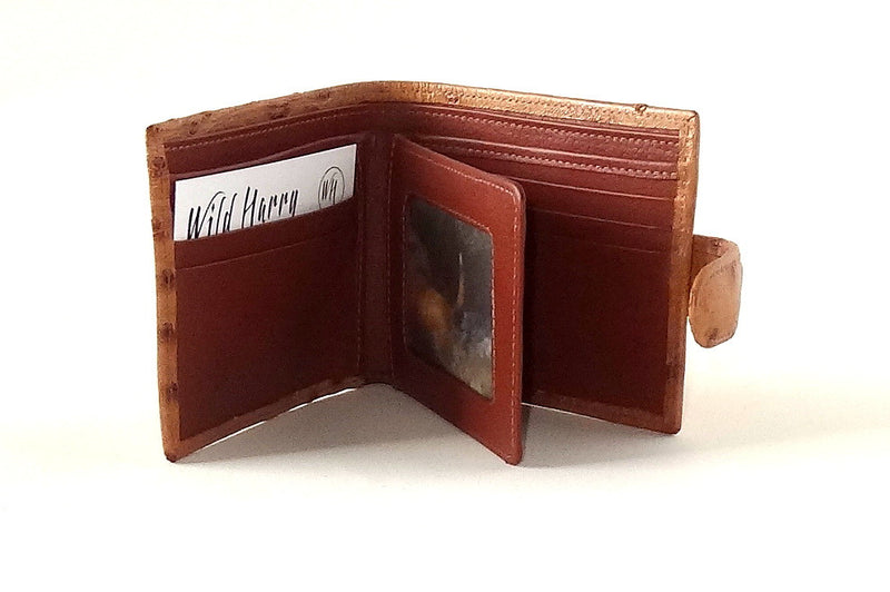 Harrison  Tan ostrich skin men's large leather hip wallet inside picture window