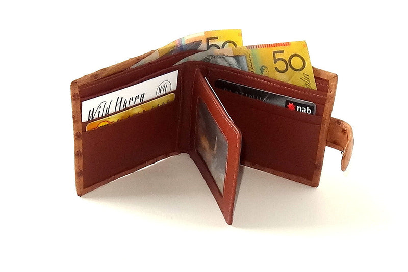 Harrison  Tan ostrich skin men's large leather hip wallet inside in use