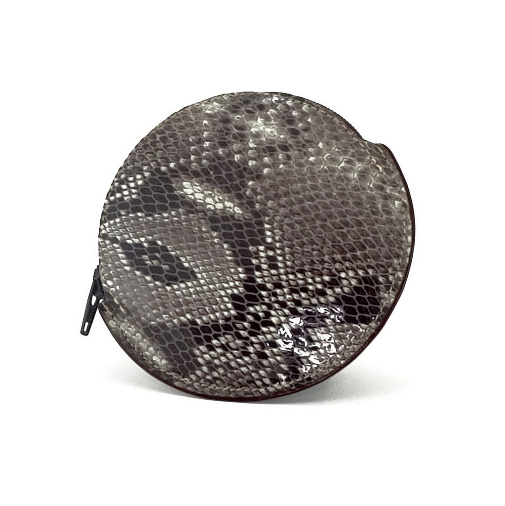Coin Purse - Round printed leather with zip