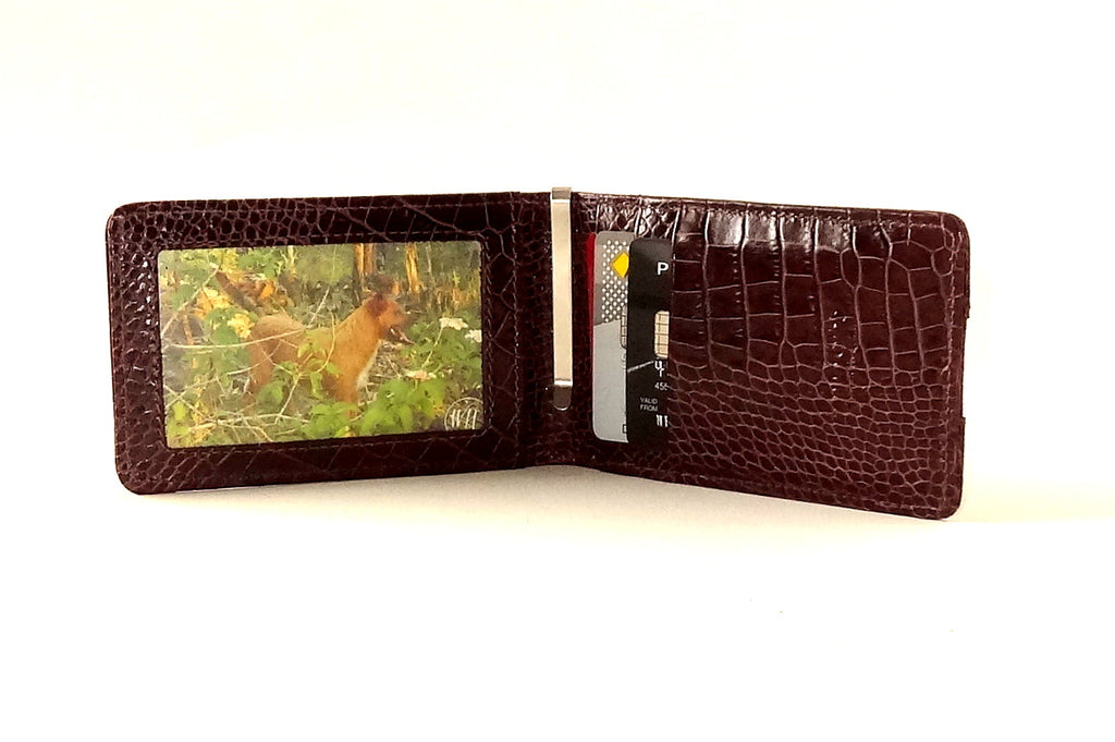 Bill fold wallet inside view showing picture window and credit card pockets in use