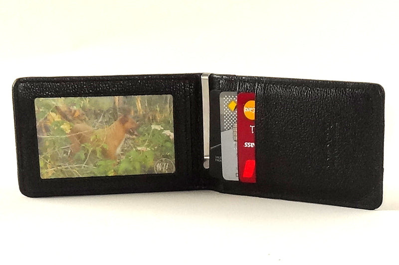 Bill fold wallet inside view black leather in use
