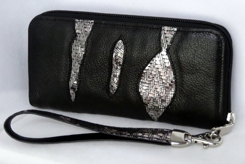 Michaela  Black leather silver sparkle detail ladies zip around purse