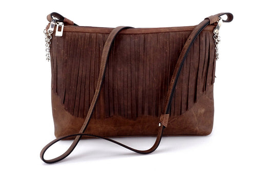 Rosie Chocolate leather small tote bag leather lined fringing side one