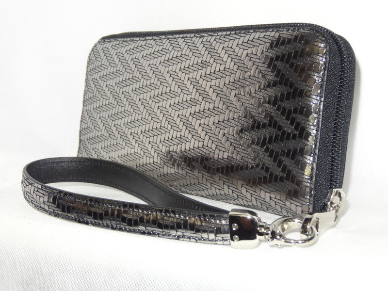 Michaela  Silver textured leather ladies zip around purse side 1