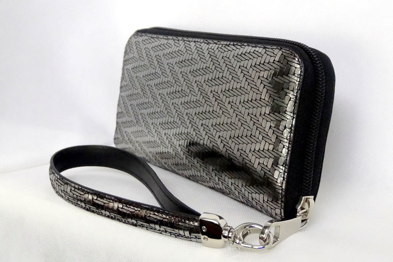 Michaela  Silver textured leather ladies zip around purse