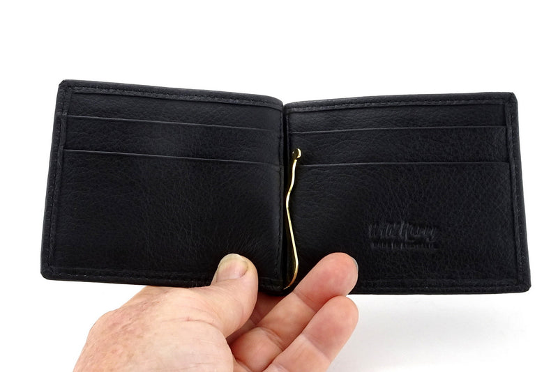 Bill fold - Andrew - Black leather men's wallet showing inside layout held in a hand