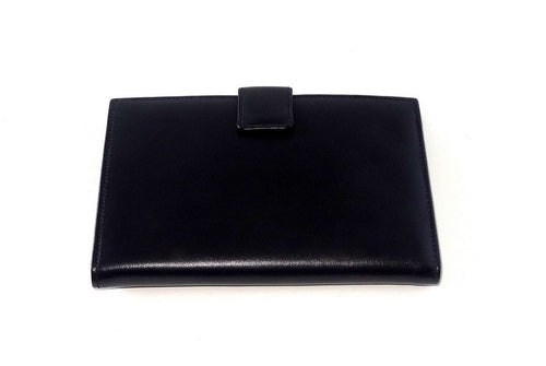 Julie Large ladies clutch purse dark navy smooth finished leather front
