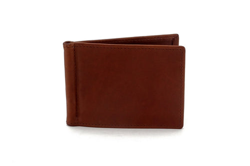 Bill fold - Andrew - Brown leather men's wallet front outside view