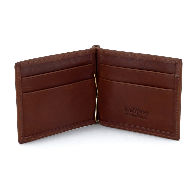 Bill fold - Andrew - Brown leather men's wallet showing inside pocket layout