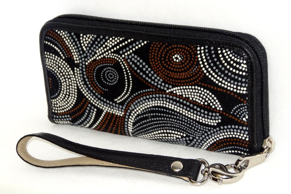 Michaela  Brown swirls Aboriginal print fabric side 1
