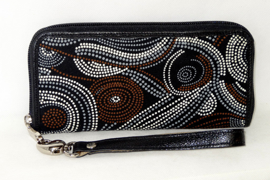 Michaela  Brown swirls Aboriginal print fabric side 2