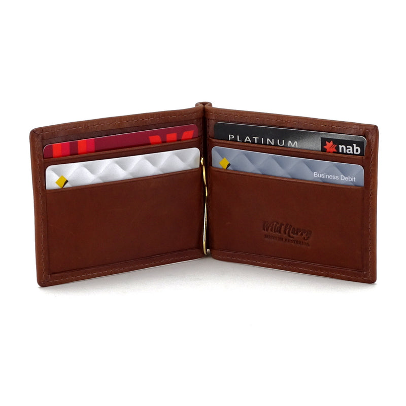Bill fold - Andrew - Brown leather men's wallet cards in place