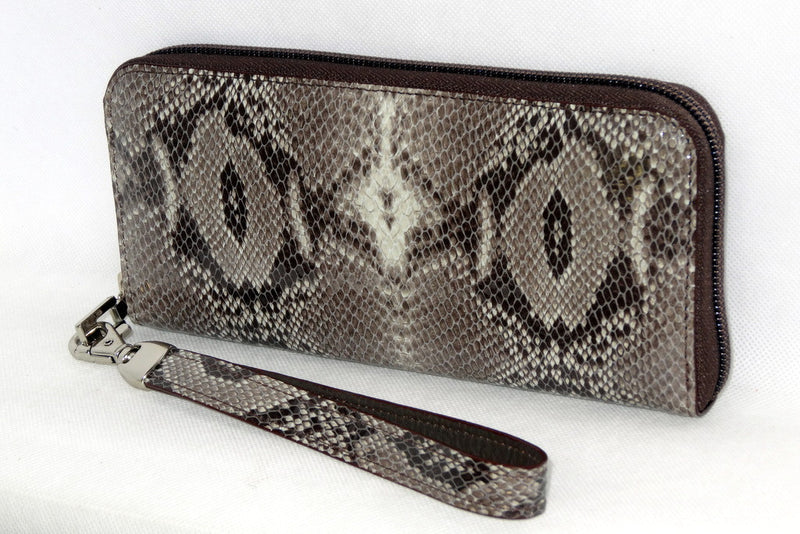 Michaela  Grey snake print leather ladies zip around purse side 2