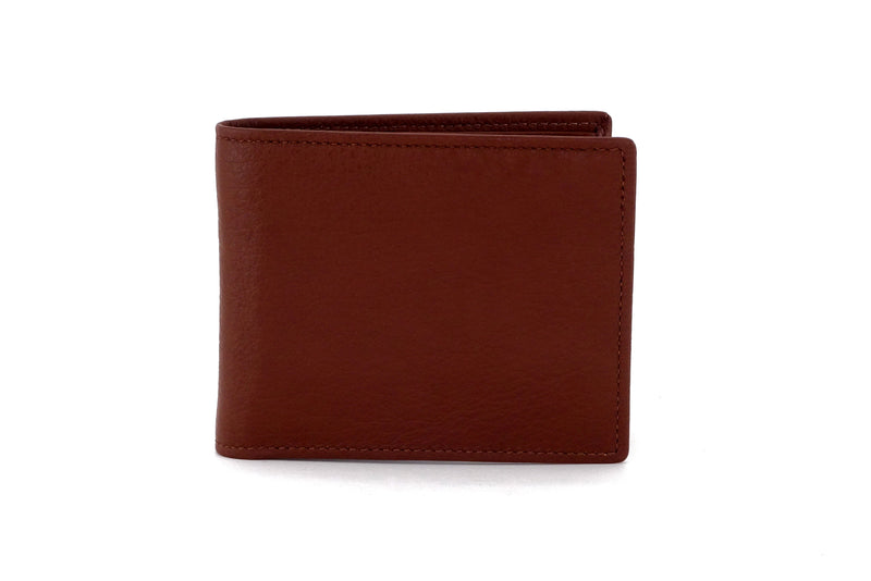 Martin  Brown textured leather man's picture window hip wallet showing front view