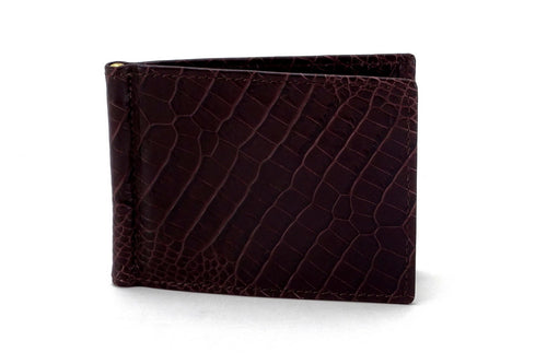 Bill fold - Andrew - Burgundy printed leather men's wallet front outside view