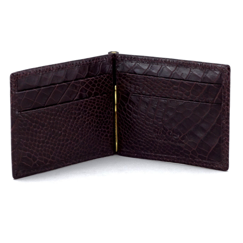 Bill fold - Andrew - Burgundy printed leather men's wallet showing inside pocket layout