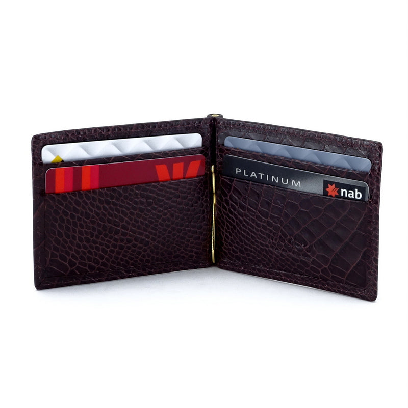 Bill fold - Andrew - Burgundy printed leather men's wallet showing inside layout with credit cards in place
