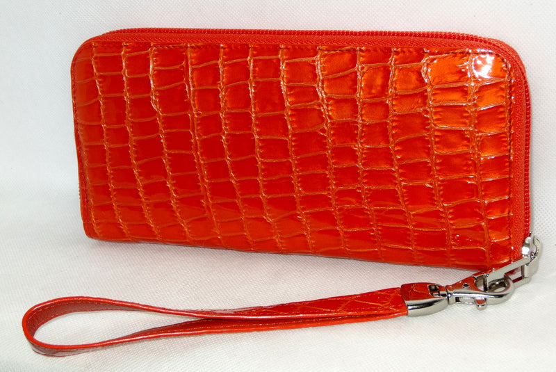 Michaela  Orange foil leather ladies zip around purse side 2
