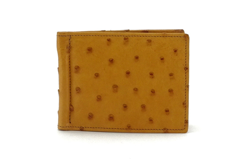 Bill fold - Andrew - Tan ostrich leather men's wallet front view