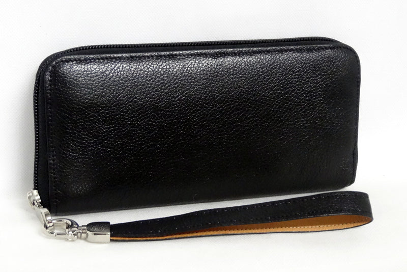 Michaela  Black leather ladies zip around purse side 2
