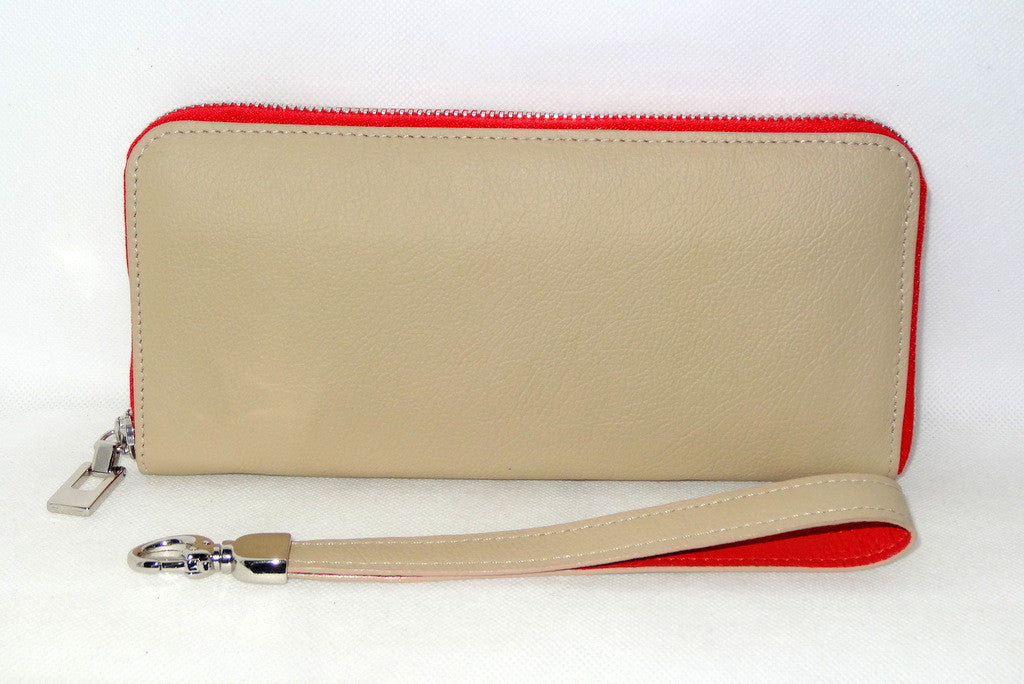 Michaela  Cream leather with red metal zip side 2