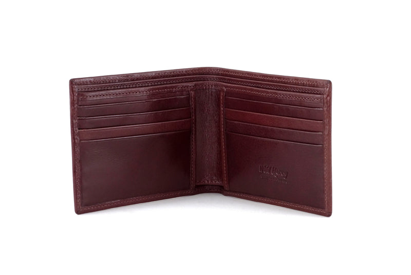 Martin  Brown smooth leather men's large hip wallet showing inside pocket layout