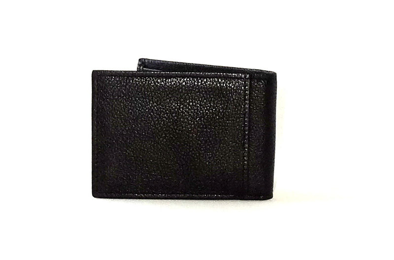 Black leather small men's wallet back