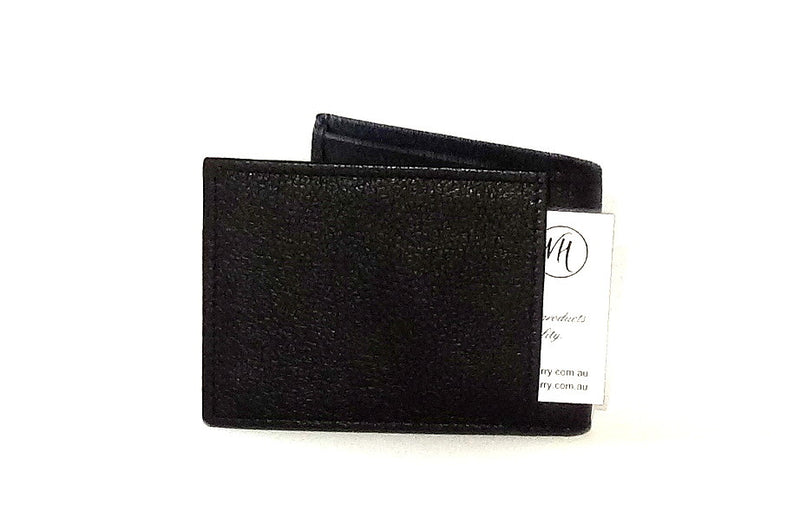 Black leather small men's wallet back pocket
