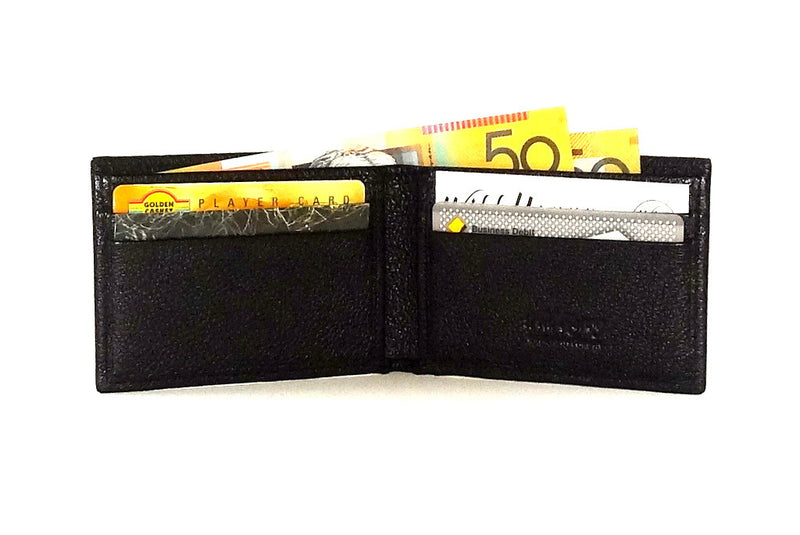 Black leather small men's wallet open inside pocket layout