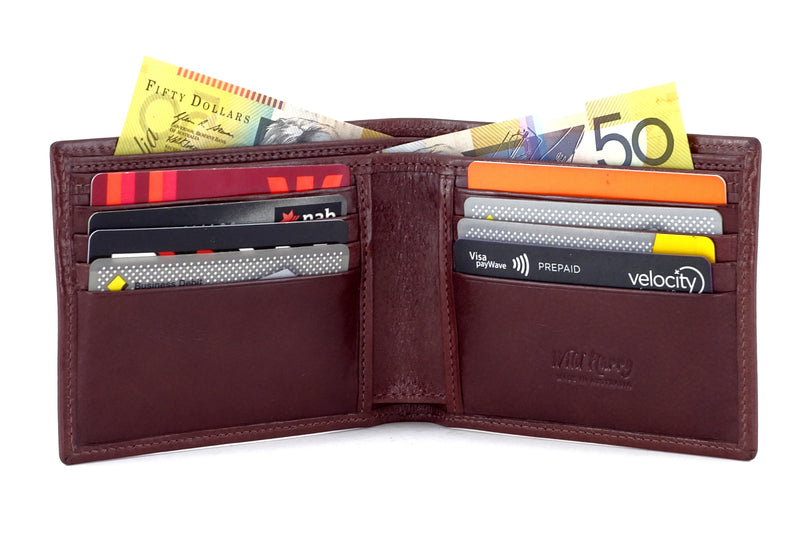 Martin  Brown smooth leather men's large hip wallet inside pockets in use