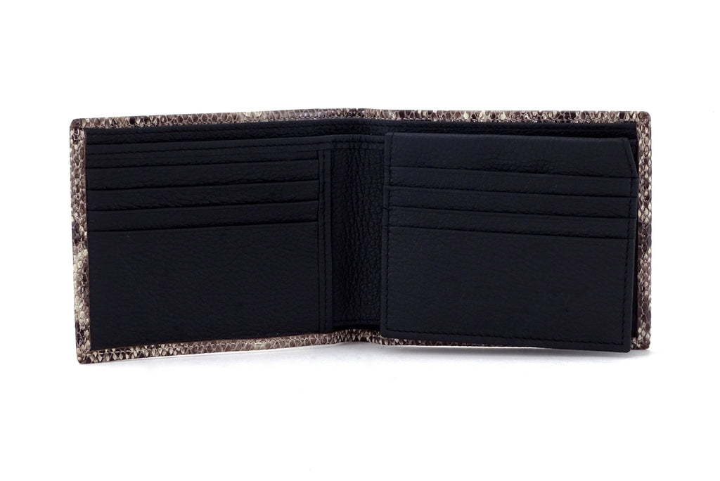 Martin  Grey snake print leather men's wallet black internal view