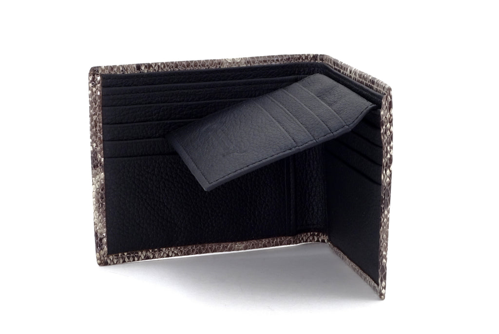 Martin  Grey snake print leather men's wallet inside view